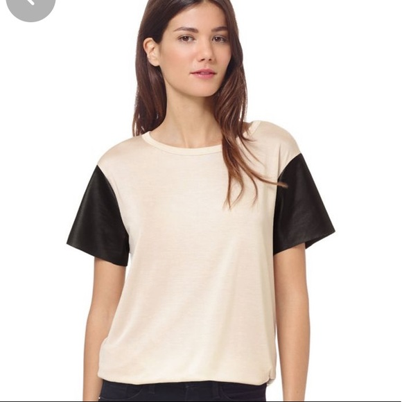 Wilfred free top with pleather short sleeves